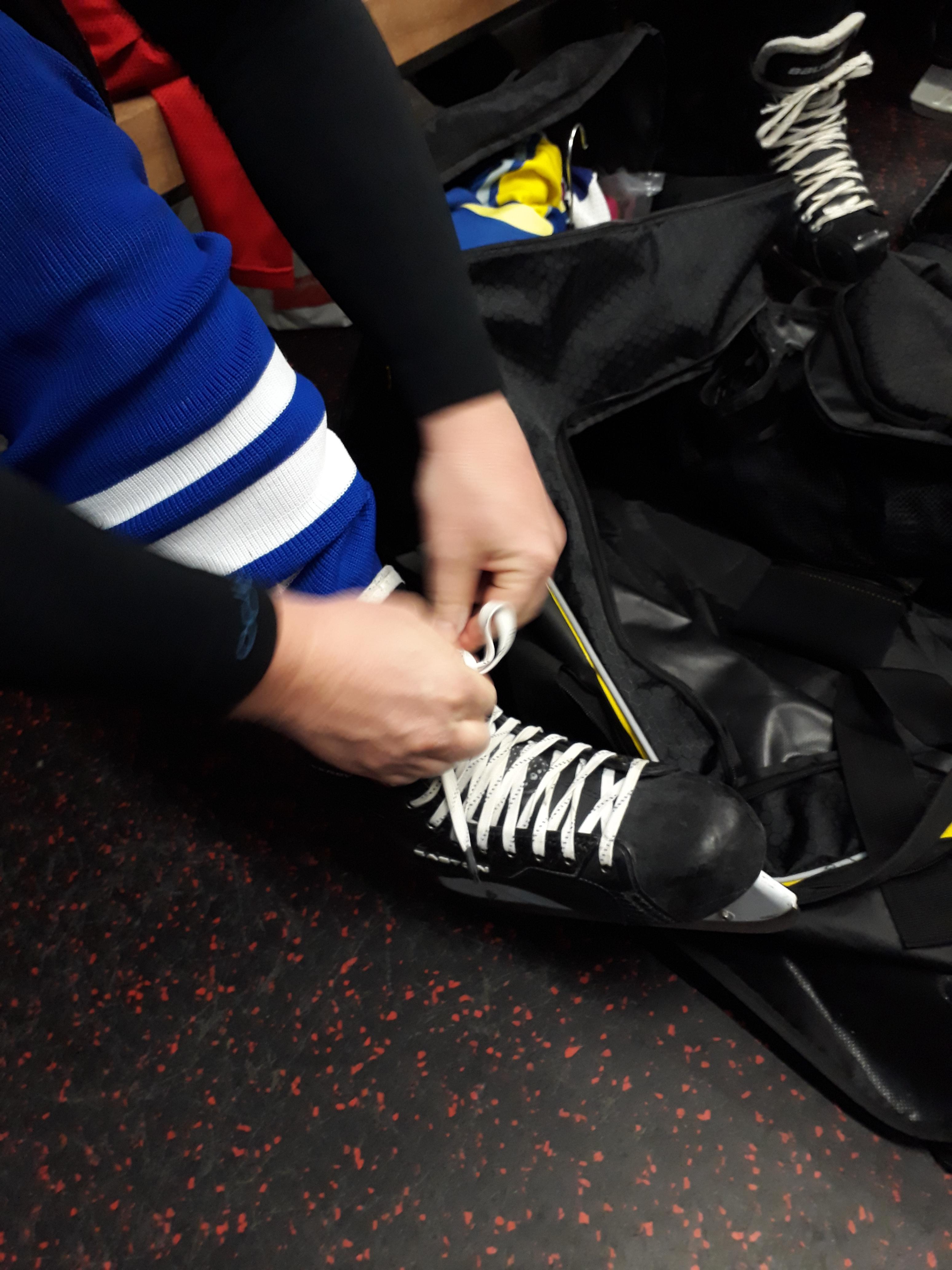 Skates geschnürt